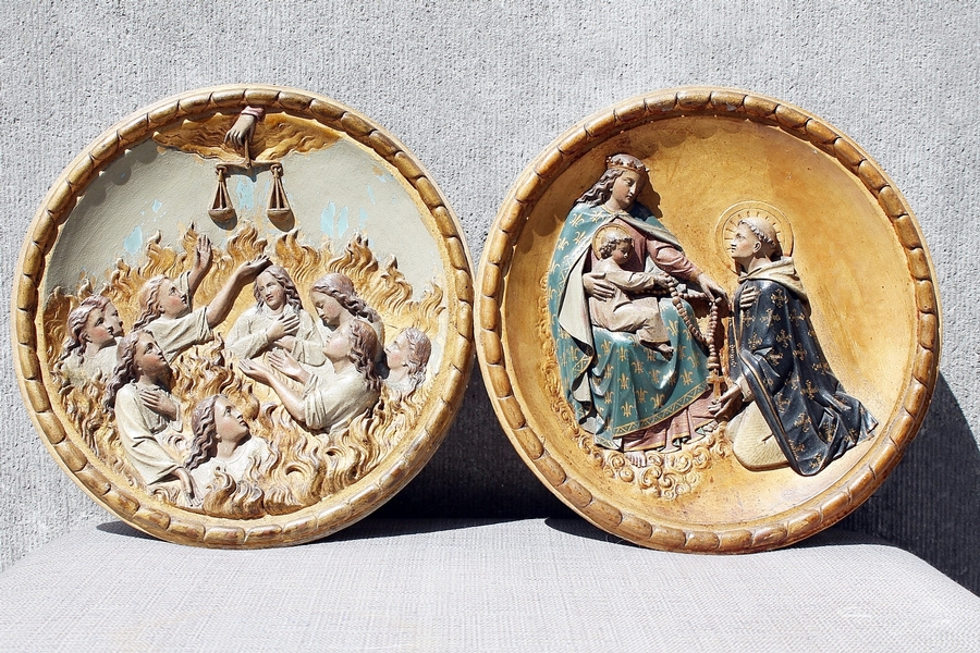 Religious Medallions, Carved Wood, 19th C