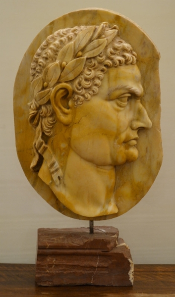 Roman Emperor Profile in Marble, 20th C