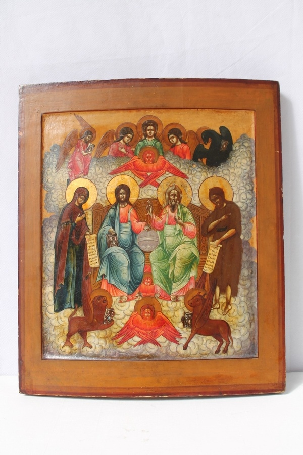 Russian orthodox icon, Holy Trinity and the Tetramorph