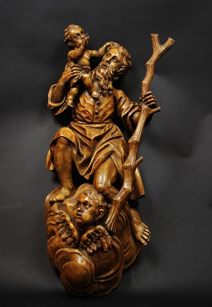 Saint Christopher, german wooden sculpture, early 19th C.