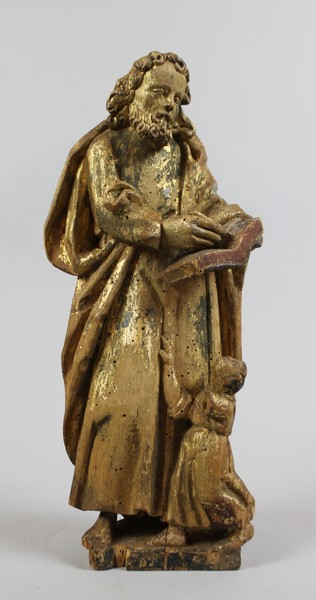 Saint Matthew, 18th C. carved and polychromed wood