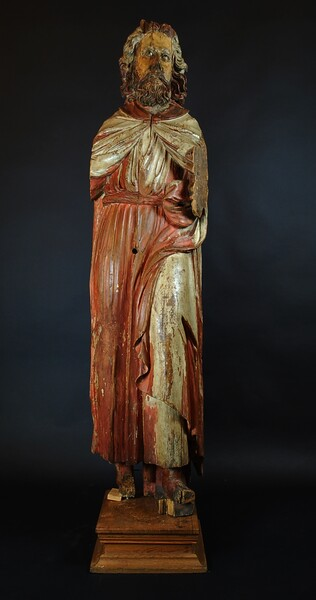 Saint Peter, Polychromed wooden sculpture, Alsace, late 16th C.