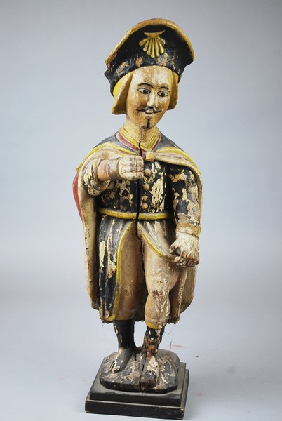 Saint Roch in polychrome carved wood, 18th