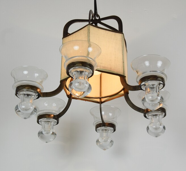 Scandinavian wrought iron chandelier, 1950's