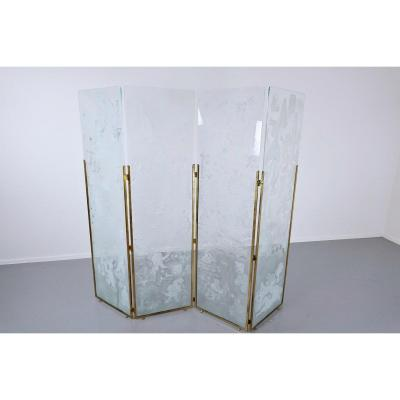 Screen Composed Of 4 Engraved Glass Panels, Signed, Belgium
