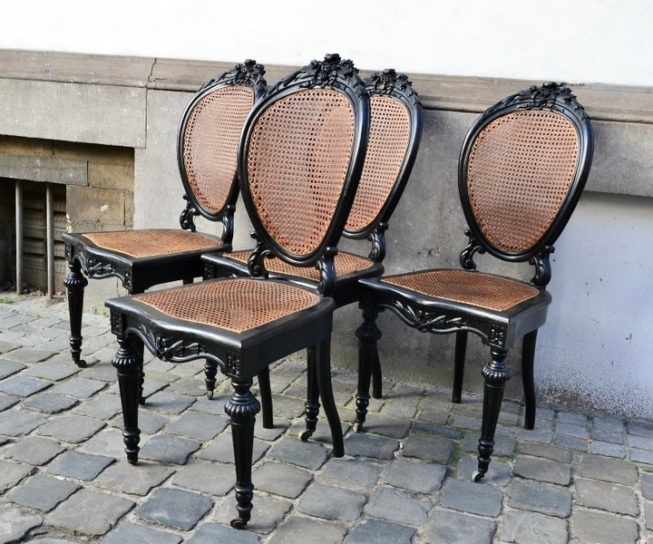 Set of 4 19th C. Caned Chairs
