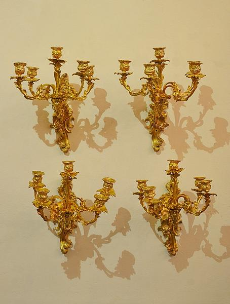 Set of 4 gilded bronze wall lamps in the L XV style, 19th c.