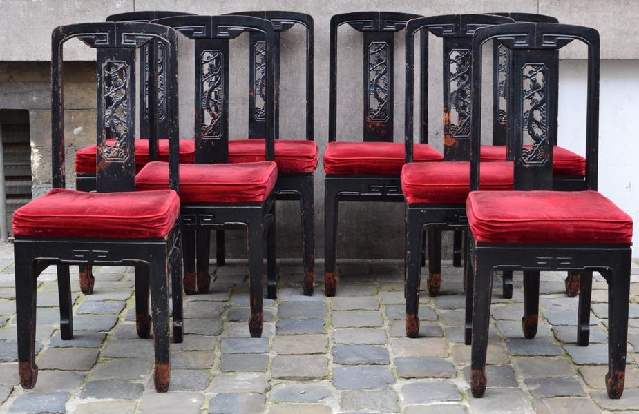 Set of 8 Chinese Inspired chairs, Circa 1920