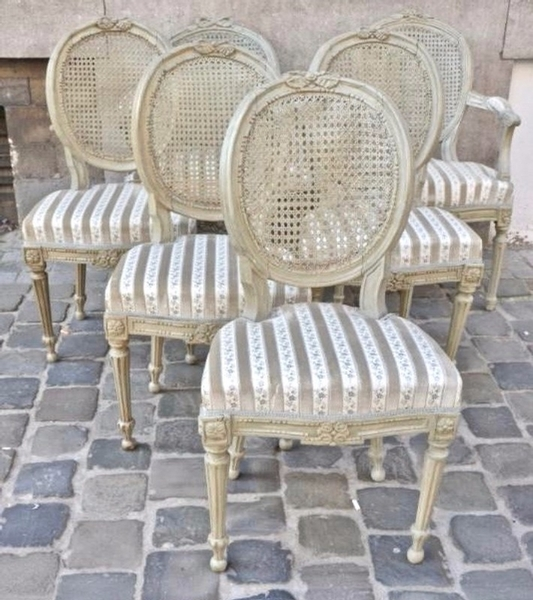 Set of Dining chairs and  armchairs in the style of Louis XVI/Transition