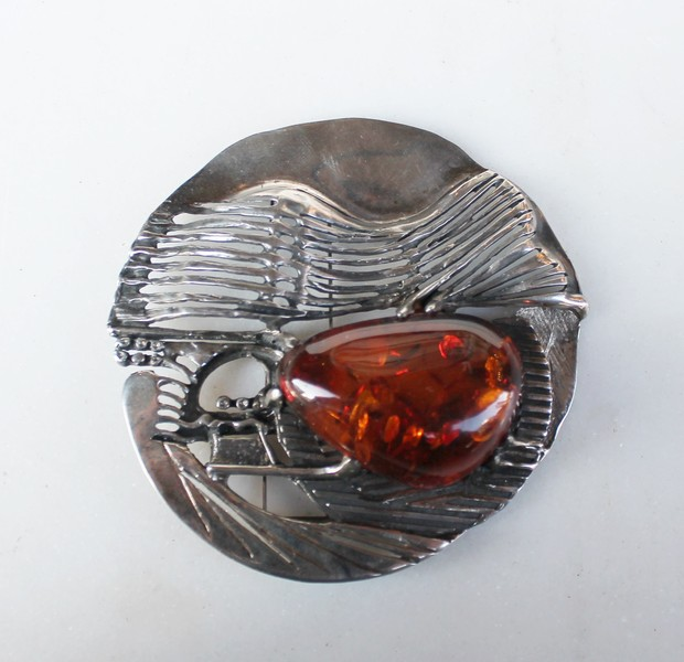 Silver and amber brooch by Manfred Stubbahn