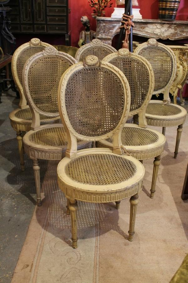 Six Louis XVI caned chairs