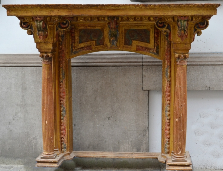 Spanish Chimney / overmantel, gilded and carved wood, late 18th C