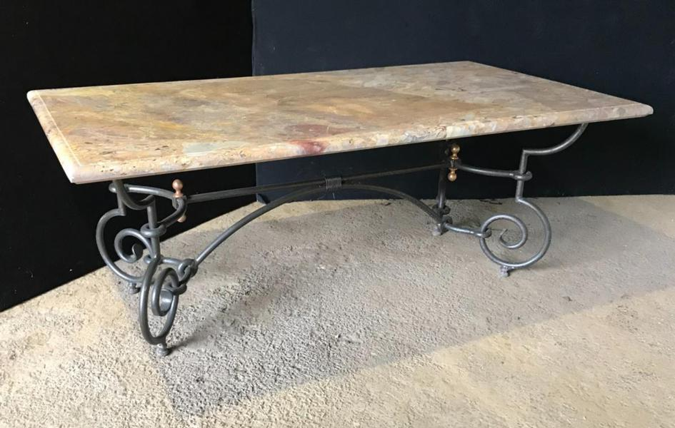Table Sarrancolin marble, metal base