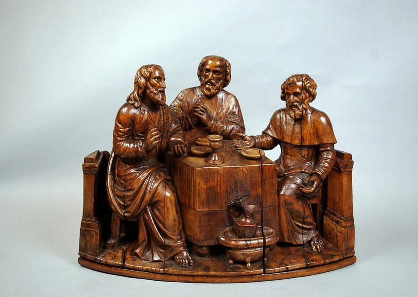 The supper at Emmaus, late 17th C. oak sculpture