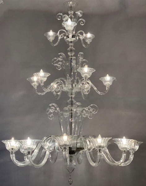 Three floors Murano glass chandelier