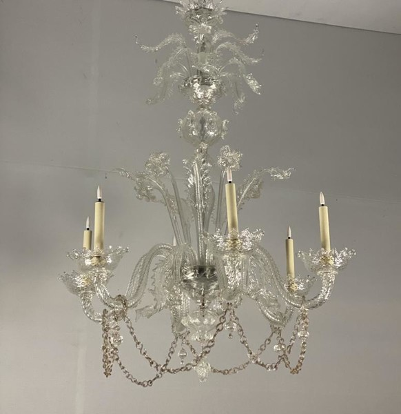 Transparant Murano glass chandelier with 6 arms of light