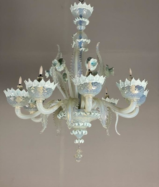 Venetian Chandelier In Blue And Opalescent Murano Glass, 8 Arms Of Light