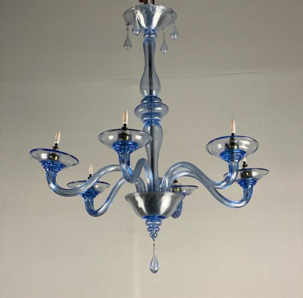 Venetian Chandelier In Blue Murano Glass, 6 Arms Of Light