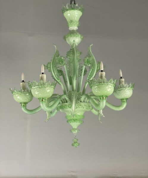 Venetian Chandelier In Green Murano Glass, 6 Arms Of Light