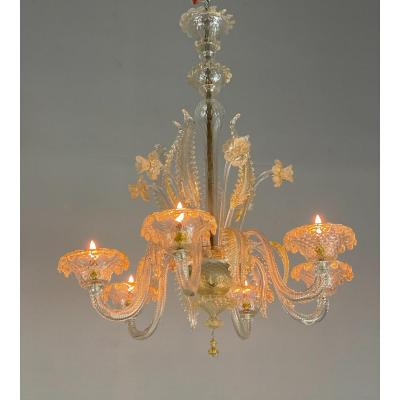 Venetian Chandelier In Lightly Gilded Murano Glass, 6 Arms Of Light
