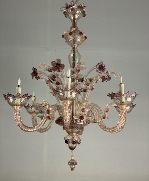 Venetian Chandelier In Pink Murano Glass And Amethyst, 6 Arms Of Light