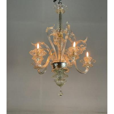 Venetian Chandelier In Transparent And Lightly Gilded Murano Glass, 5 Arms Of Light