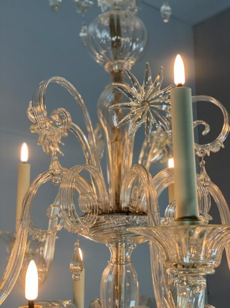 Venetian Chandelier In Transparent Murano Glass 10 Arms Of Light On Two Levels