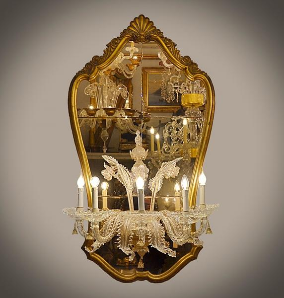 Venetian gilded mirror with wall light