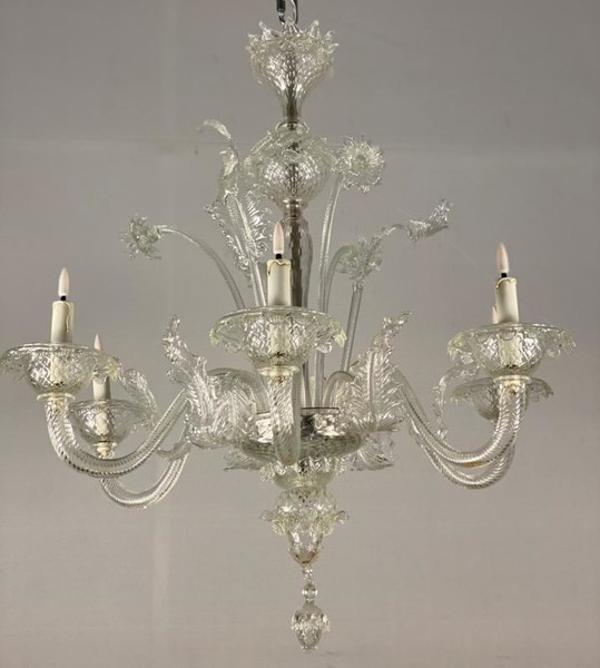 Venetian Murano Glass Chandelier 6 Arms Of Light