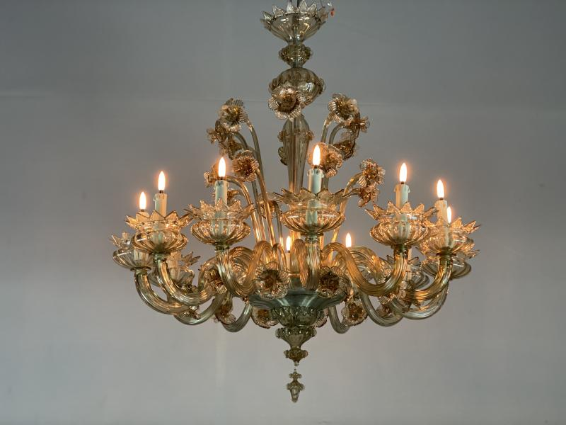 Venetian murano glass chandelier, mordoré 12 arms of light