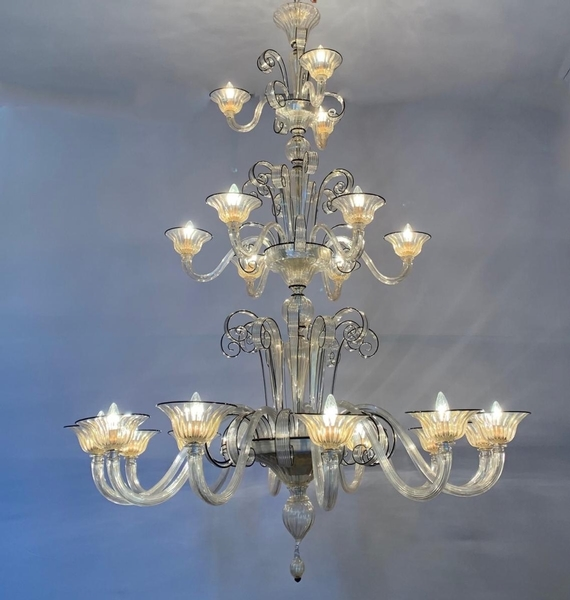 Venice Murano black and gold glass chandelier