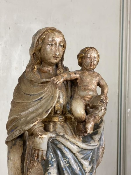 Virgin and child in alabaster, Flanders 16th C.