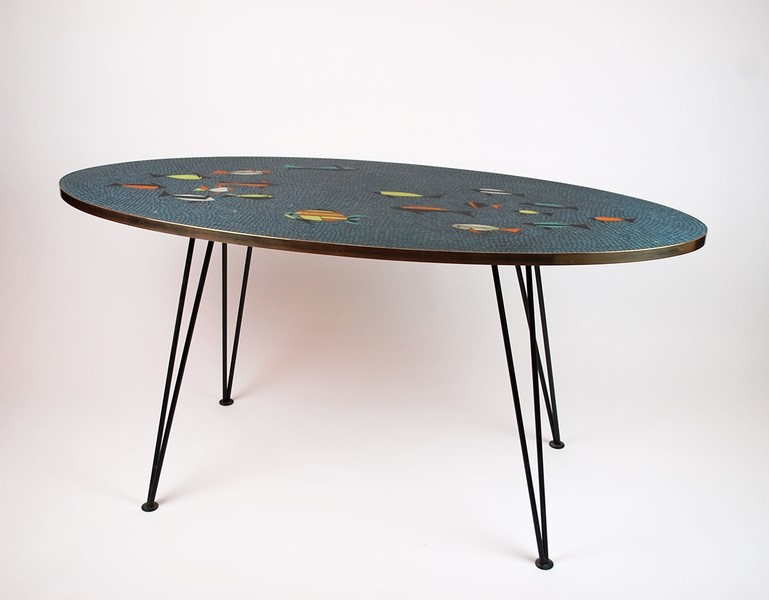 WALDEMAR SCHUSTER, Rare oval table in glass mosaic