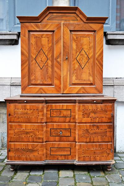 Walnut Marquetry German Cupboard - 18th C.