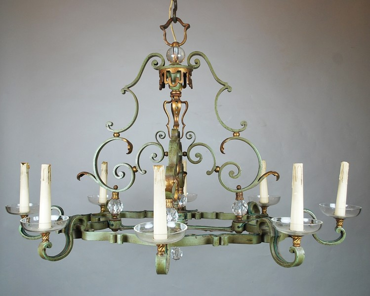 Wrought iron chandelier, circa 1940